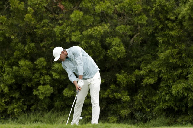 Brooks Koepka watches his tee shot on the 12th hole during the final round of the U.S. Open Championship golf tournament Sunday, June 16, 2019, in Pebble Beach, Calif. (AP Photo/Matt York)