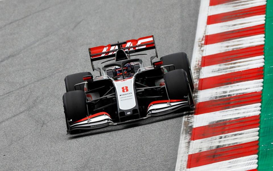 Haas driver Romain Grosjean of France steers his car during the second practice session at the Red Bull Ring racetrack in Spielberg, Austria, Friday, July 3, 2020. The Austrian Formula One Grand Prix will be held on Sunday - Leonhard Foeger/Pool via AP