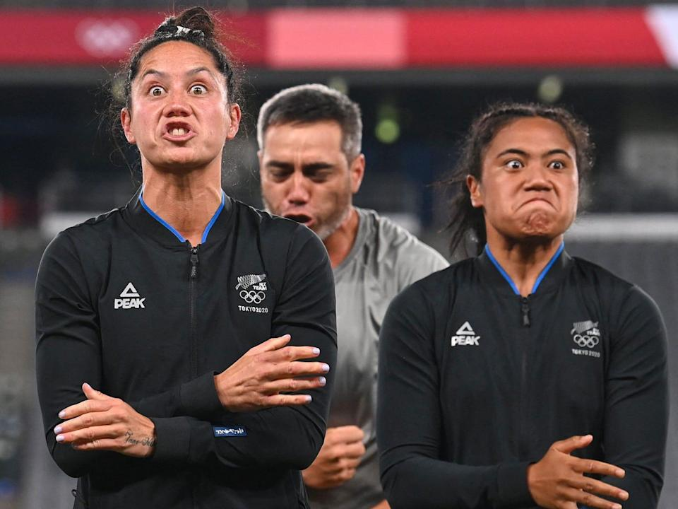 New Zealand's women's rugby team celebrates with haka at Tokyo 2020.