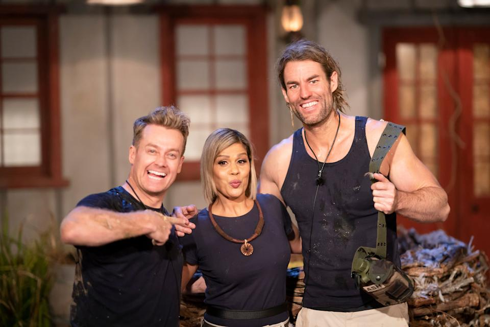 Grant Denyer, Pettifleur Berenger and Ash Williams on 'I'm A Celebrity... Get Me Out Of Here'  (Photo: Channel 10)