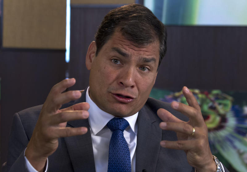 "Ecuador's President Rafael Correa, speaks during a interview with The Associated Press in Portoviejo, Ecuador, Sunday, June 30, 2013. Correa said he had no idea Snowden's intended destination was Ecuador when he fled Hong Kong for Russia last week. He said the Ecuadorean consul in London committed ""a serious error"" without consulting any officials in the capital, Quito, when the consul issued a letter of safe passage for Snowden.(AP Photo/Martin Mejia)"