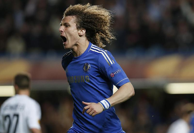 Chelsea's David Luiz celebrates after scoring a goal against Basel during their Europa League semifinal second leg soccer match, at Chelsea's Stamford Bridge stadium in London, Thursday, May 2, 2013. (AP Photo/Sang Tan)