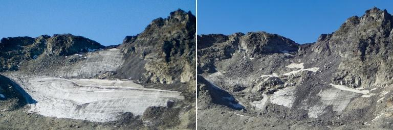 Images of the Pizol glacier taken in 2006 (L) and 2019 (R) show how much ice has been lost