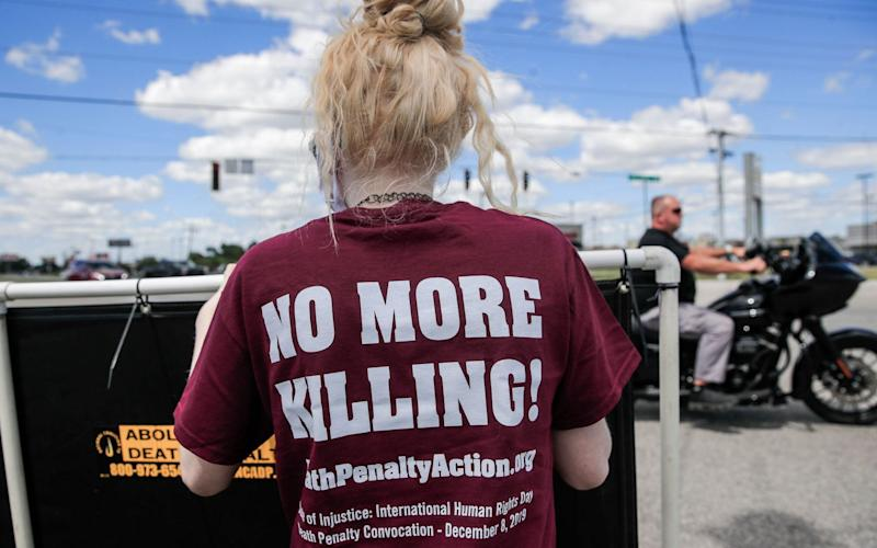 Protesters gather in Terre Haute, Indiana, to demonstrate against the resumption of federal executions after more than 17 years - TANNEN MAURY/EPA-EFE/Shutterstock/Shutterstock