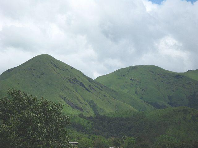 Gentle slopes of hills all around