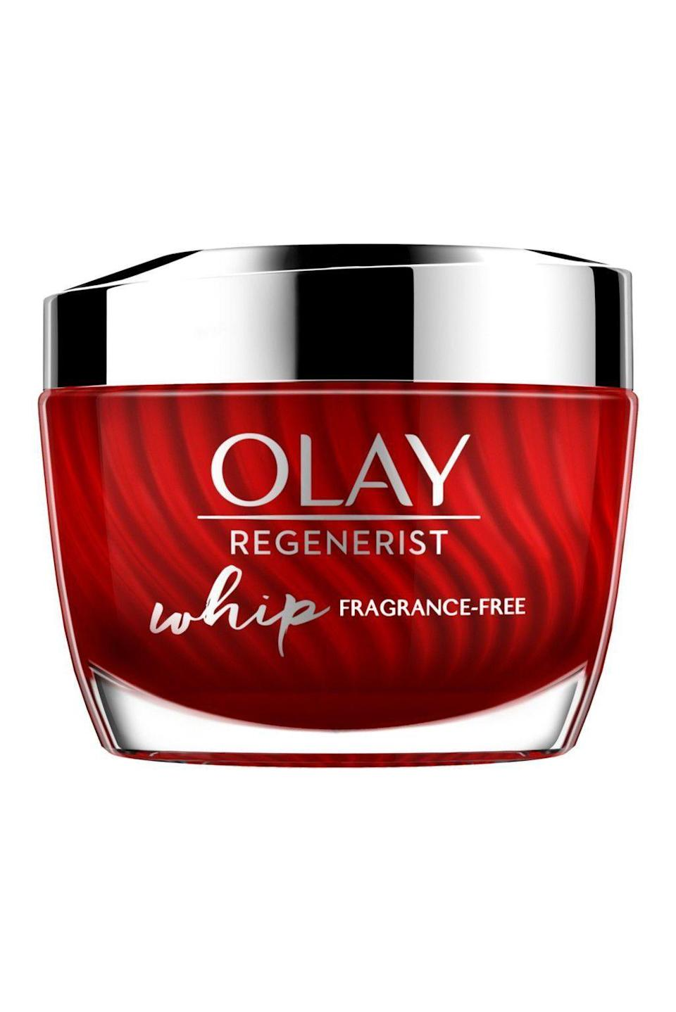 """<p><strong>Olay</strong></p><p>amazon.com</p><p><strong>$19.98</strong></p><p><a href=""""https://www.amazon.com/dp/B07GBPMMGP?tag=syn-yahoo-20&ascsubtag=%5Bartid%7C10058.g.34015100%5Bsrc%7Cyahoo-us"""" rel=""""nofollow noopener"""" target=""""_blank"""" data-ylk=""""slk:SHOP IT"""" class=""""link rapid-noclick-resp"""">SHOP IT</a></p><p>Olay has been dominating the anti-aging market for years, and there's a reason for that. This whipped cream is fragrance-free for sensitive-skin consumers, plus it's lightweight and never feels greasy.</p>"""