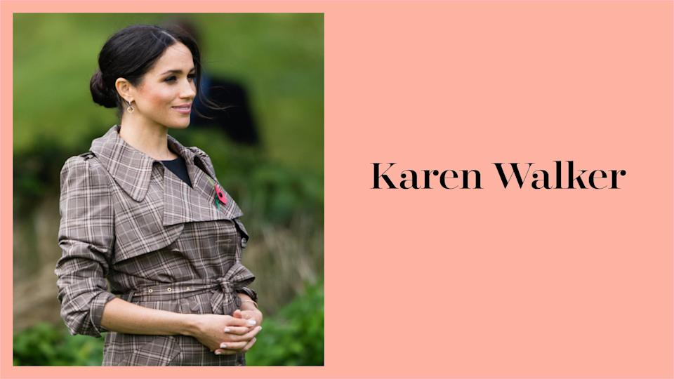 Meghan Markle wears a Karen Walker trench coat in New Zealand during the royal tour. (Photo: Getty Images)