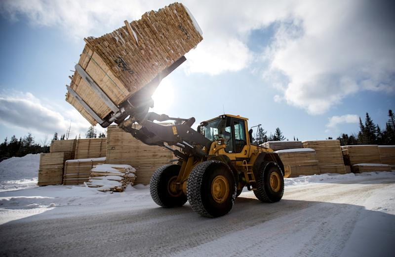 FILE PHOTO: Softwood lumber is stacked at Groupe Crete, a sawmill in Chertsey, Quebec