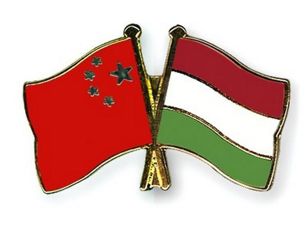 Hungary and Chinese flags