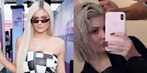 <p>Despite recently saying that she wanted to go back to her black hair, Kylie decided to go in a different direction and dyed her hair gray. She also opted for a short bob that we've seen her rock several times before. Hopefully, we get to see the full thing in new photos soon!</p>