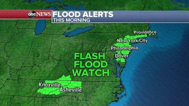PHOTO: Flash flood watches are in effect in the Northeast and parts of western North Carolina and eastern Tennessee on Tuesday. (ABC News)