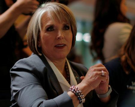 FILE PHOTO: Democratic candidate for governor Michelle Lujan Grisham sits down for a meal at Barelas Coffee House on midterm elections day in Albuquerque