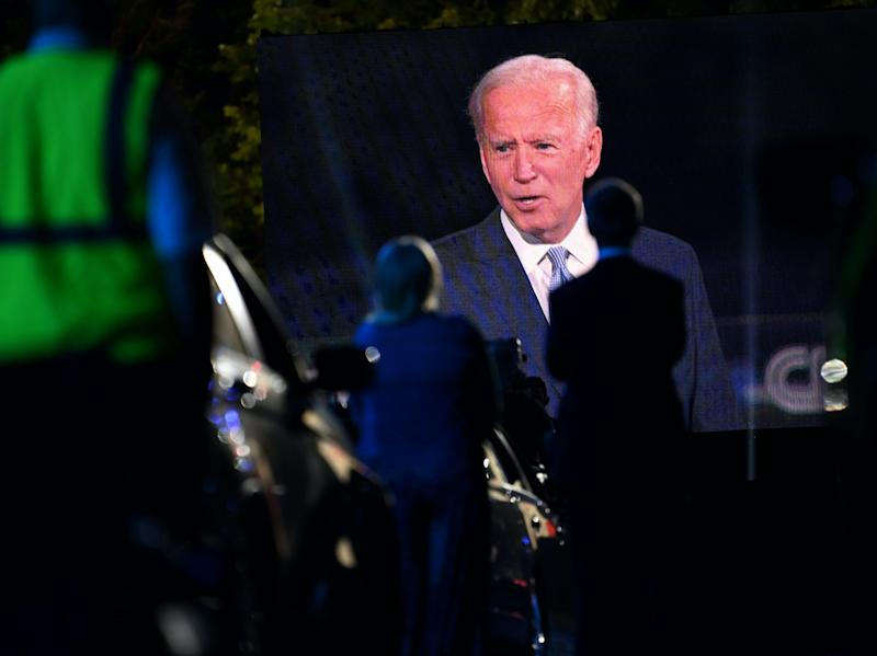 Democratic presidential nominee Joe Biden at a CNN town hall on Thursday night. (AFP via Getty Images)