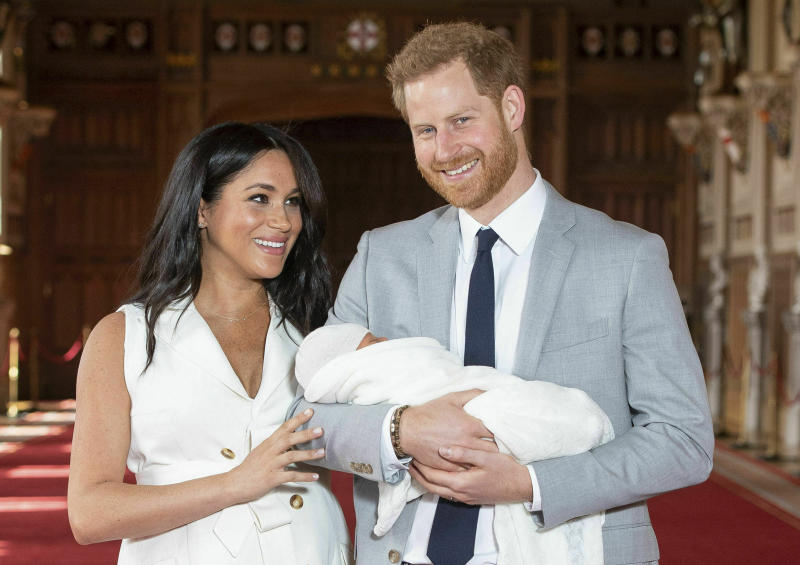 Britain's Prince Harry and Meghan, Duchess of Sussex, during a photocall with their newborn son Archie. Source: Dominic Lipinski/Pool via AP