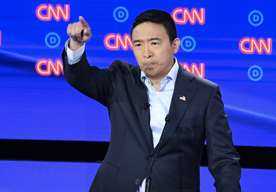 Democratic presidential hopeful US entrepreneur Andrew Yang delivers his closing statement during the second round of the second Democratic primary debate of the 2020 presidential campaign season hosted by CNN at the Fox Theatre in Detroit, Michigan on July 31, 2019. (Photo: Jim WATSON / AFP)