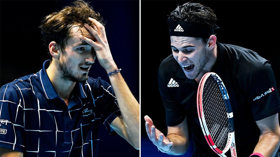Russian Daniil Medvedev (pictured left) frustrated during his match and Dominic Thiem (pictured right) yelling in anger during the ATP Finals.
