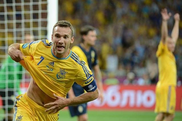 Ukrainian forward Andriy Shevchenko celebrates after scoring his second goal during the Euro 2012 championships football match Ukraine vs Sweden on June 11, 2012 at the Olympic Stadium in Kiev. TOPSHOTS/AFP PHOTO/DAMIEN MEYERDAMIEN MEYER/AFP/GettyImages
