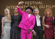 Jury members Melanie Laurent, from left, Mati Diop, Spike Lee, Jessica Hausner and Mylene Farmer pose for photographers upon arrival at the premiere of the film 'Annette' and the opening ceremony of the 74th international film festival, Cannes, southern France, Tuesday, July 6, 2021. (AP Photo/Vadim Ghirda)