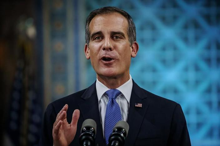 """Mayor Eric Garcetti makes his annual State of the City address at L.A. City Hall on April 19. <span class=""""copyright"""">(Marcus Yam / Los Angeles Times)</span>"""