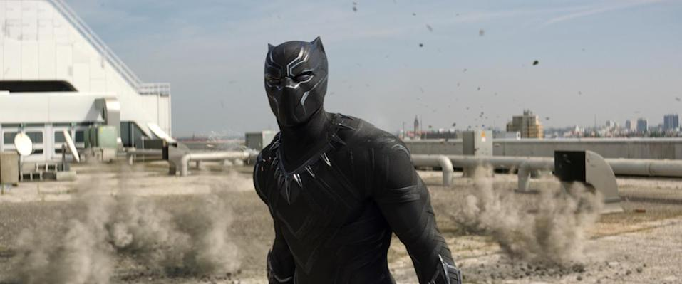 <p>Drawn into the fray following a bombing that targets his fellow Wakandans, the acrobatic African warrior prince arrives in the MCU by swearing revenge on the presumed culprit, the Winter Soldier. <i>(Photo: Disney)</i></p>