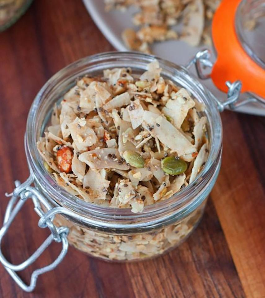 """<p>OK, we know a grain-free granola sounds a little out there, but Eating Bird Food's recipe (which was inspired by the cookbook <em><a rel=""""nofollow"""" href=""""http://www.self.com/story/author-of-i-quit-sugar-sarah-wilson-eats-sugar-again?mbid=synd_yahoofood"""">I Quit Sugar</a></em>) uses an array of nuts, seeds, and crispy coconut chips to make a delightfully crunchy treat. The original recipe calls for no sugar whatsoever, so you can add a tablespoon or two of honey, maple syrup, or agave for a low-sugar treat that's still kinda sweet. Get the recipe <a rel=""""nofollow"""" href=""""https://www.eatingbirdfood.com/quit-sugar-grain-free-coco-nutty-granola?mbid=synd_yahoofood"""">here</a>.</p>"""