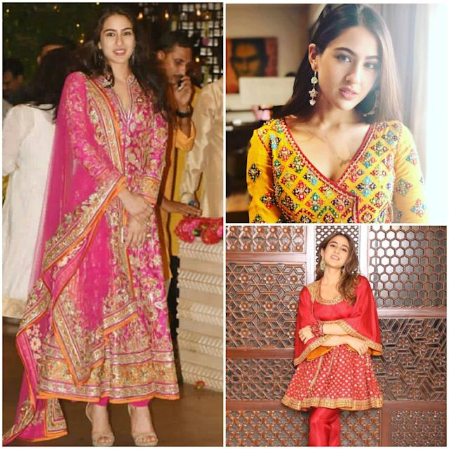 She has been seen in heavily embellished Anarkali suits in bright reds, yellows, magentas and greens. Could be an intricate zardosi pattern, mirror work or gota patti. She never goes overboard with jewelry pieces - never. Mostly, it's just a pair of statement earrings that add to her youthful charm. <br>
