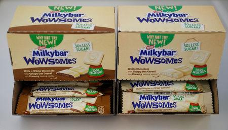 Bars of Nestle's new 'Milkybar Wowsomes' are displayed on a table at their Product Technology Centre in York, Britain, March 21, 2018. REUTERS/Phil Noble