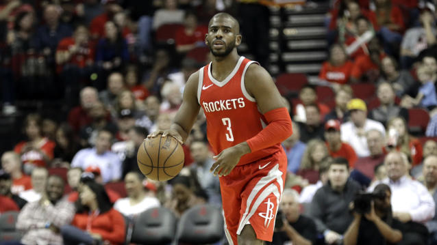 "<a class=""link rapid-noclick-resp"" href=""/nba/players/3930/"" data-ylk=""slk:Chris Paul"">Chris Paul</a> found something special in Houston, helping lead the team to the NBA's best regular season record. (AP Photo)"