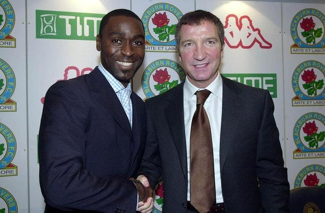 Andy Cole (left) with manager Graeme Souness after signing for Blackburn