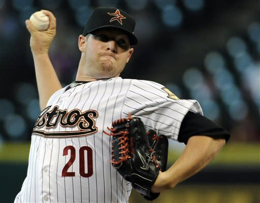 Houston Astros' Bud Norris delivers to the Milwaukee Brewers during the first inning of a baseball game Wednesday, May 16, 2012, in Houston. (AP Photo/Pat Sullivan)