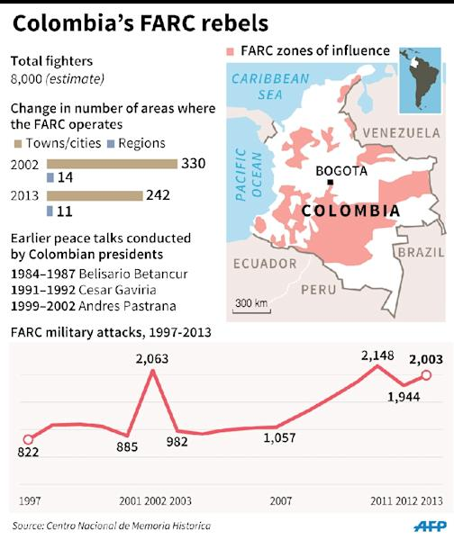 Fact file on Colombia's Revolutionary Armed Forces of Colombia (FARC) rebels (AFP Photo/)