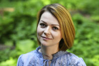 FILE - In this Wednesday, May 23, 2018 file photo, Yulia Skripal poses for the media during an interview in London. Novichok, a deadly nerve agent that has left Russian opposition politician Alexei Navalny in a coma and nearly killed a former Russian spy and his daughter in 2018, was the product of a highly secretive Soviet chemical weapons program. Just a few milligrams of the odorless liquid — the weight of a snowflake — are enough to kill a person within minutes. (Dylan Martinez/Pool via AP, File)