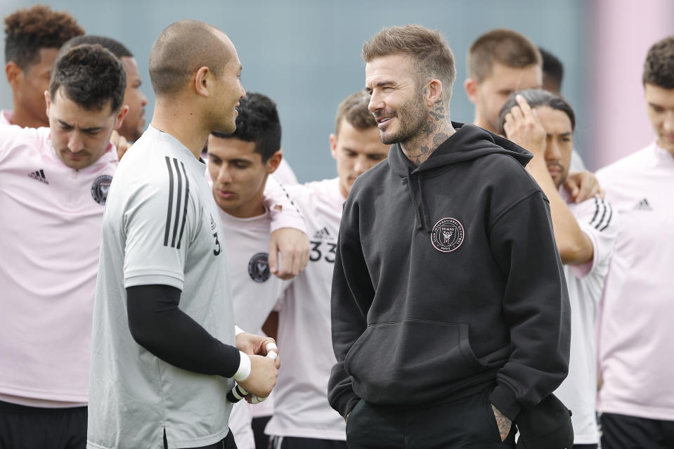 Global icon David Beckham (right) is the co-owner and president of soccer operations for Inter Miami, which kicks off its maiden MLS season Sunday. (Michael Reaves/Getty)