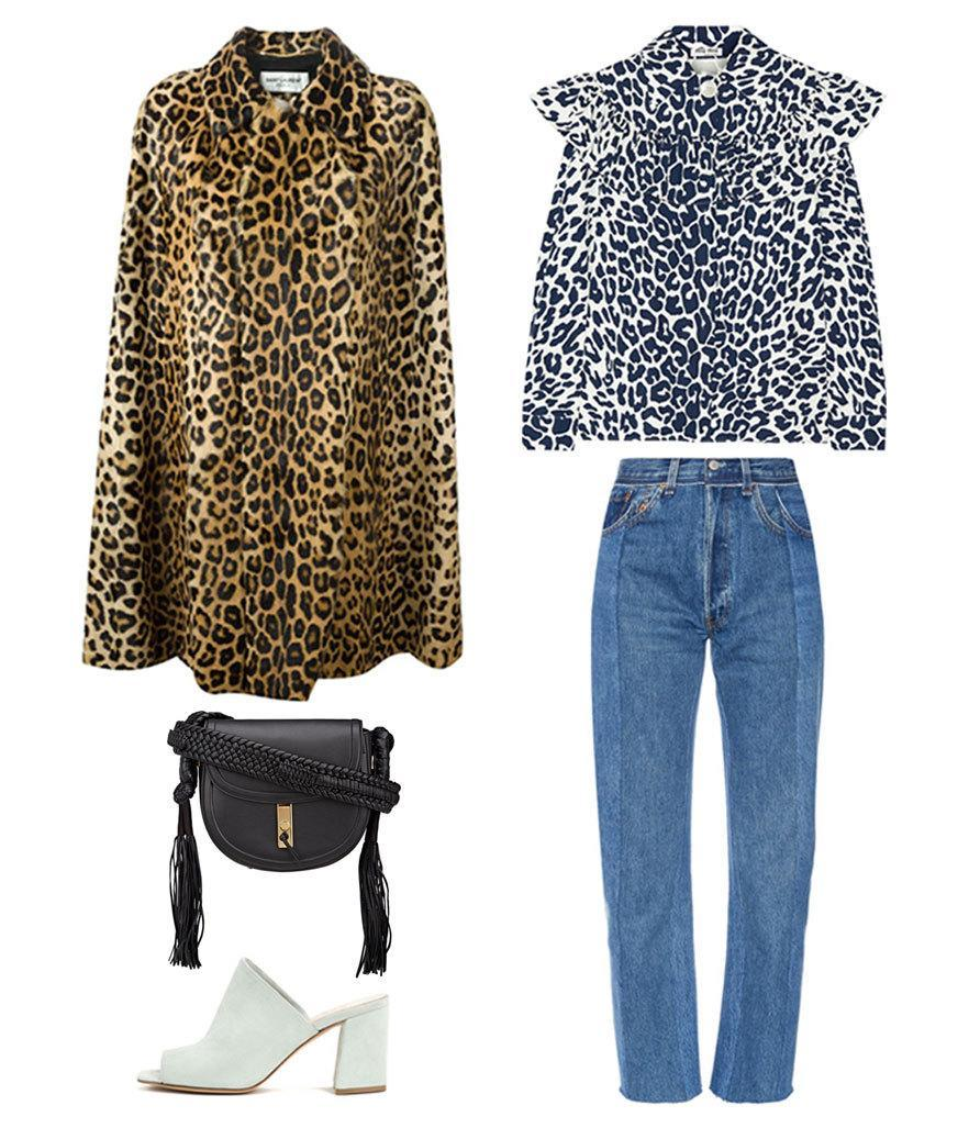 <p>Fashion girls know that the only thing better than one statement-making print, is two piled on top of each other. The key to making them work together is switching up the colorways: Peeking out under Saint Laurent's swingy cape, the Miu Miu blouse reads more like a cool, abstract pattern than leopard overload.</p>