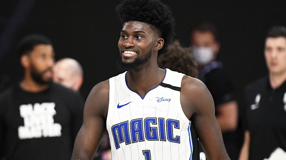 Jonathan Isaac is pictured smiling during Orlando's win over the Brooklyn Nets.