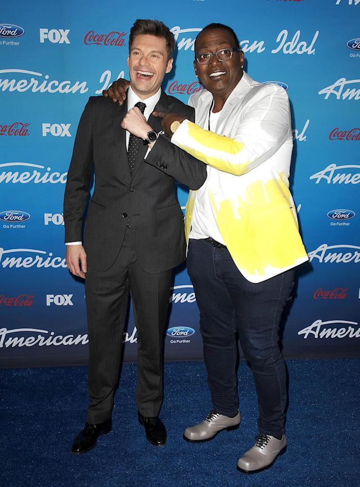 "Ryan Seacrest and Randy Jackson attend the FOX ""American Idol"" finalists party at The Grove on March 7, 2013 in Los Angeles, California."