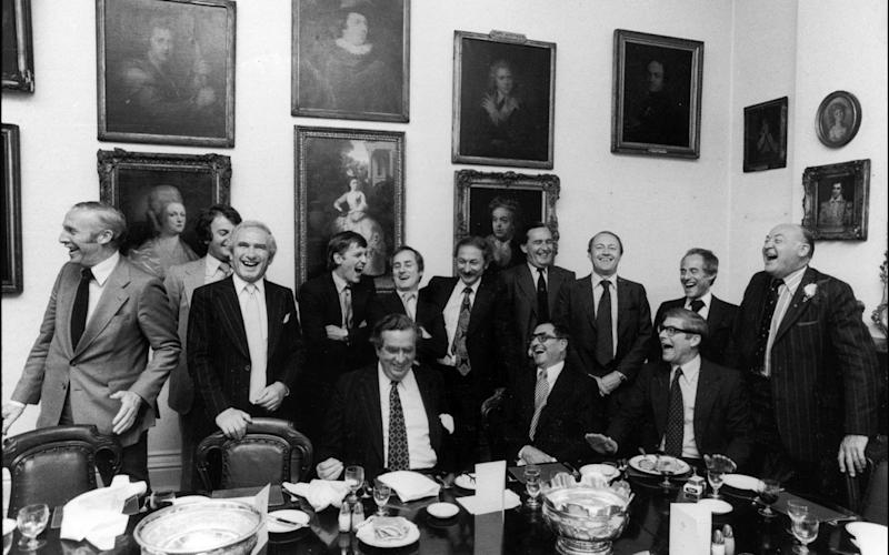 'Old boys' network': Chancellor of the Exchequer Denis Healey jokes at a lunch at the Garrick Club in 1978 - Michael Ward/Hulton Archive