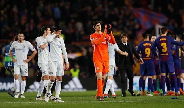 Soccer Football - Champions League Round of 16 Second Leg - FC Barcelona vs Chelsea - Camp Nou, Barcelona, Spain - March 14, 2018 Chelsea's Thibaut Courtois and team mates look dejected after the match Action Images via Reuters/Lee Smith