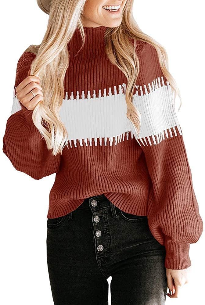 <p>The blousy lantern sleeves set this <span>Colorblock Striped Chunky Knit Turtleneck Sweater</span> ($24) apart from the rest.</p>