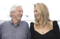 Director Paul Verhoeven, left, and Virginie Efira poses for photographers at the photo call for the film 'Benedetta' at the 74th international film festival, Cannes, southern France, Saturday, July 10, 2021. (Photo by Vianney Le Caer/Invision/AP)