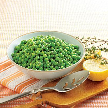 """<p>This quick and simple side dish comes together with just fresh peas, unsalted butter, fresh thyme, and lime juice, plus a little salt and pepper. It's a fast, nutritious side that's perfect for <a href=""""https://www.myrecipes.com/quick-and-easy/one-dish-weeknight-dinners"""" rel=""""nofollow noopener"""" target=""""_blank"""" data-ylk=""""slk:weeknight suppers"""" class=""""link rapid-noclick-resp"""">weeknight suppers</a>. </p>"""