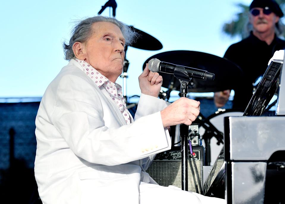 Jerry Lee Lewis performs at Stagecoach music festival in Indio, California, in 2017.