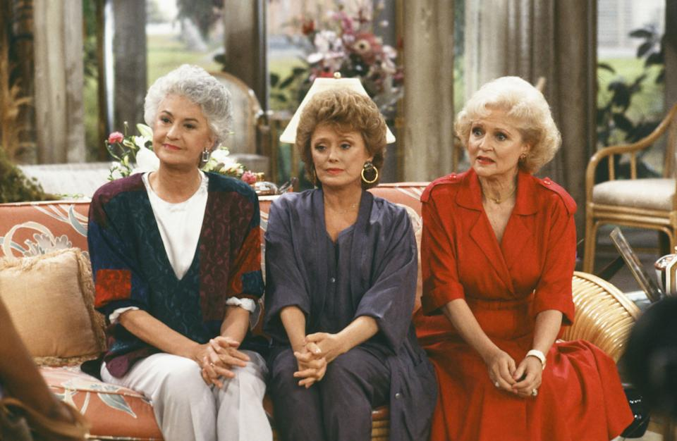 THE GOLDEN GIRLS -- Pictured: (l-r) Bea Arthur as Dorothy Petrillo-Zbornak, Rue McClanahan as Blanche Devereaux,  Betty White as Rose Nylund -- Photo by: NBC/NBCU Photo Bank
