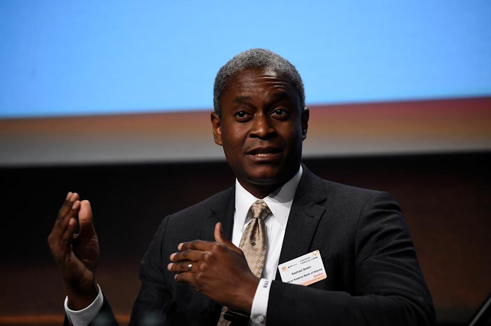 President and Chief Executive Officer of the Federal Reserve Bank of Atlanta Raphael W. Bostic speaks at a European Financial Forum event in Dublin, Ireland February 13, 2019. REUTERS/Clodagh Kilcoyne