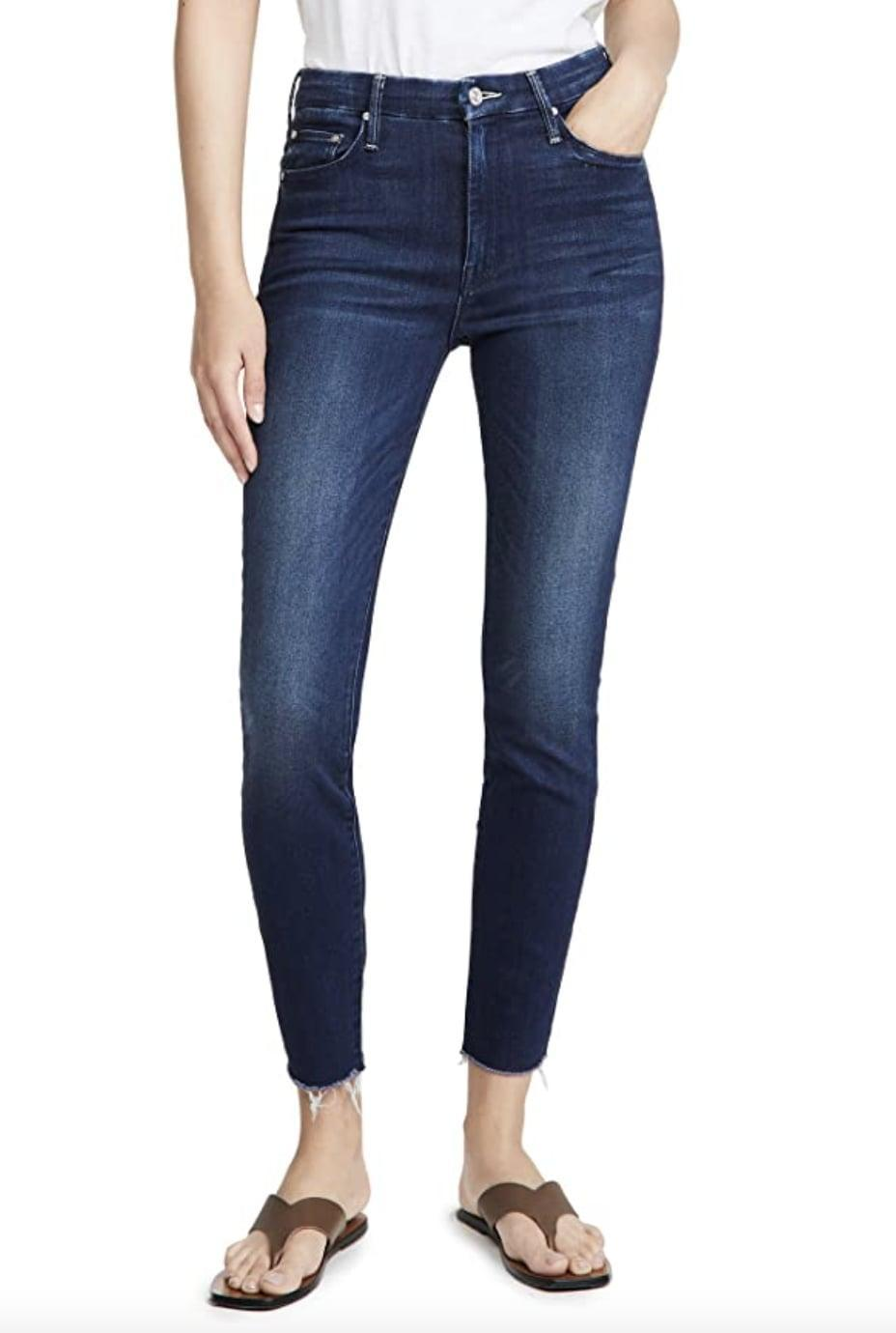 <p>Wear these dark <span>Mother High Waisted Looker Ankle Fray Jeans</span> ($198 - $228) with white sneakers for a fresh contrast.</p>