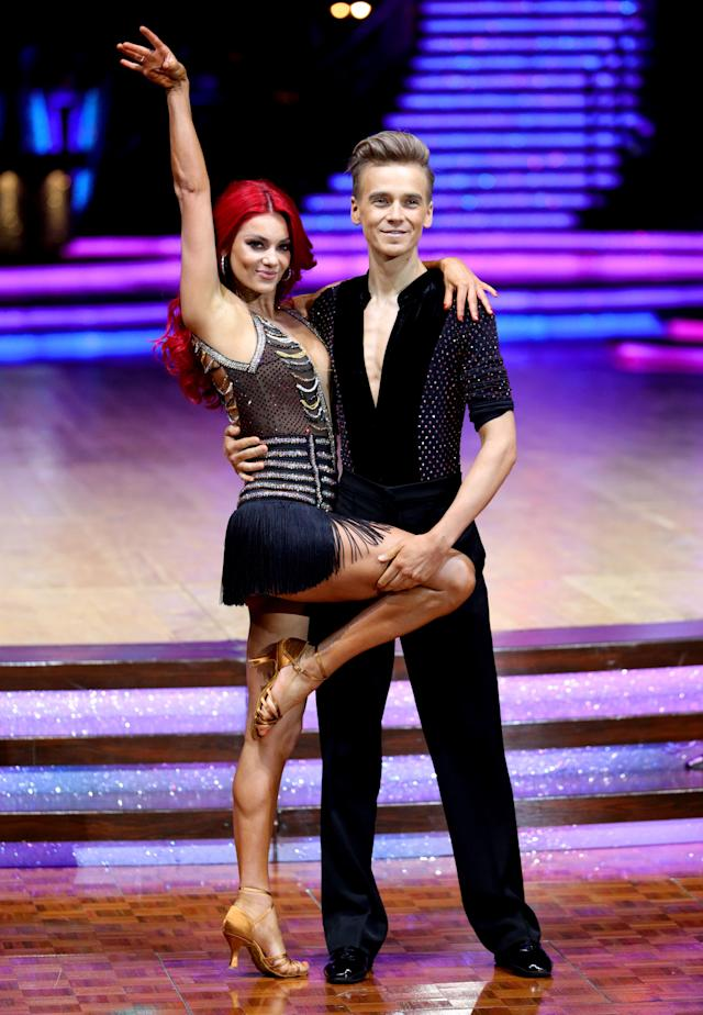 Joe Sugg and Dianne Buswell pose for photographers before the opening night of the Strictly Come Dancing Tour 2019. (Photo by Aaron Chown/PA Images via Getty Images)