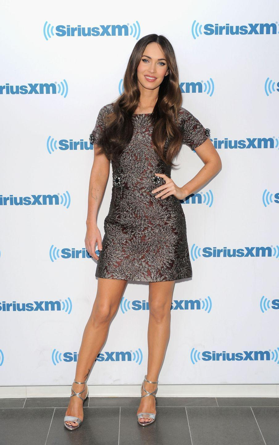 <p>The 'Jennifer's Body' actor wore a Dolce & Gabbana jacquard maroon-hued dress decorated dress with crystal-and-pearl details. </p>