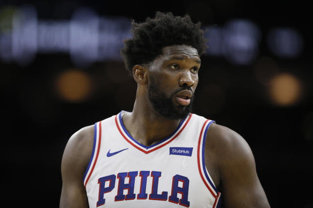 Joel Embiid took an uncharacteristically humble approach to critical comments from the TNT set. (AP Photo/Matt Slocum)