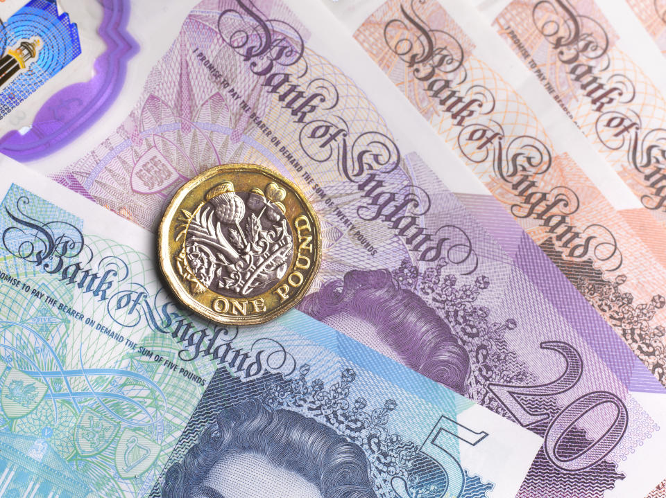 Close-up of British currency