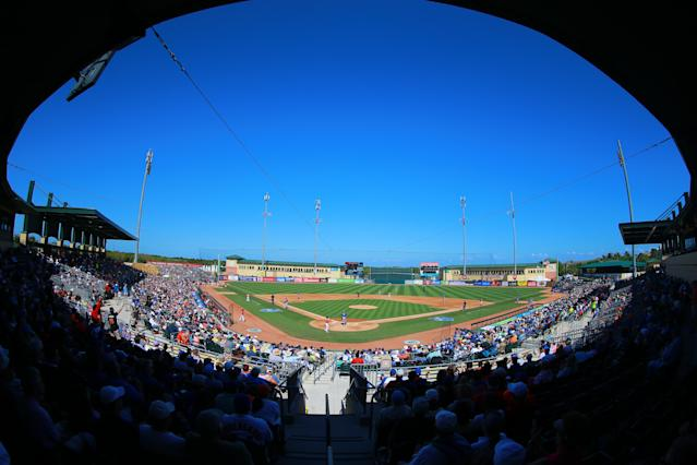 <p>A nice crowd on hand for the game at Roger Dean Chevrolet Stadium in Jupiter, Fla., March 3, 2018. (Gordon Donovan) </p>